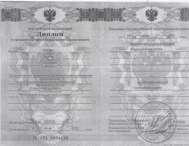 Диплом Бабаян Асмик Григорьевна